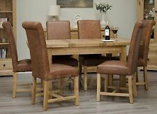Grandeur solid oak furniture extending dining table and six leather chairs set