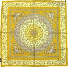 "VERSACE lemon yellow SIRENS & MEDUSA Myth Baroque 34"" large scarf NWT Authentic!"