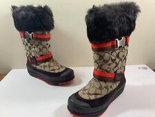 COACH MARIETTE SIGNATURE C Fur Trim A7185 Winter Snow Boots SIZE 7 M~ RARE!!