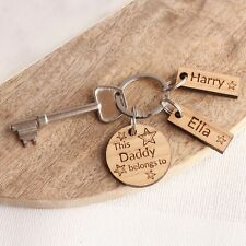 Personalised 'This Daddy Belongs To' Wooden Keyring, Father's Day,Birthday Gifts