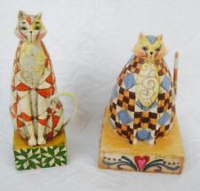 2 Jim Shore 2003 Cat Hand Painted Figurines Heartwood Creek Abigail & Abraham