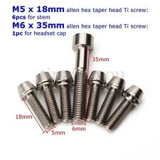 7pcs Ti Titanium Bolt Screw Kit M5X18MM M6X35MM Taper Set for Headset Cap Stem