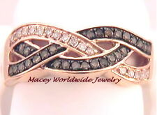 Brandy Diamond Chocolate Brown 10K Rose Gold Pretty Extravagant Wave Ring .35 Ct