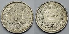 BOLIVIA 1898 PTS CB 50 CENTAVOS 1/2 BOLIVIANO MONEDA PLATA PIEZA BONITA EBC