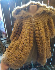 Hand made baby girl crochet faux fur trimmed hooded coat 24 mths  GOLD