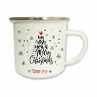 Emailletasse Merry Christmas Weihnachtsbaum mit Name
