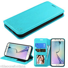 BLUE Case Leather Flip Wallet Pouch Cover Stand For Samsung GALAXY S6 Edge G925