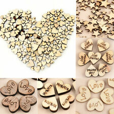 100x Small Rustic Wooden Love Heart Wedding Table Scatter Decoration Wood Crafts