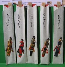 Wooden Chop Sticks Set in Folded Paper Pouch with Asian Writing and Ribbon