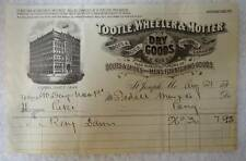 AUG 1890's ILLUSTRATED BILLHEAD TOOTLE WHEELER & MOTTER ISDELL PONY MONTANA #W98