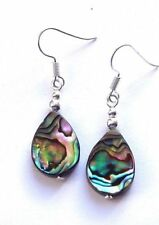 Hook Abalone Shell Oval Costume Earrings