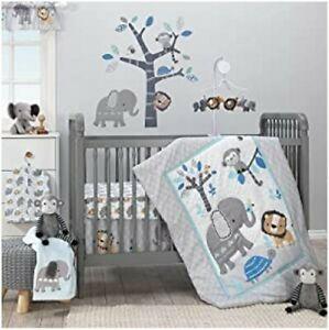 Bedtime Originals Jungle Fun 3-Piece Crib Bedding Set, Blue/Gray - Free Shipping