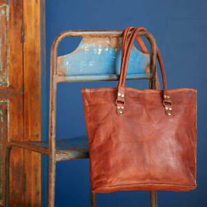 Women's genuine handmade brown leather shoulder vintage tote bag
