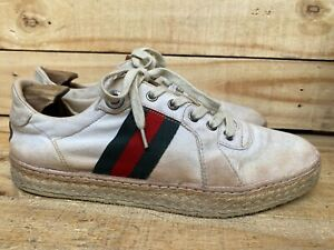 Authentic Vintage Gucci Low Top Sneakers Mens Canvas Size 42