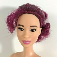 Nude Barbie Doll Asian Career Bright Burgundy Hair Beautiful Face Newly Deboxed