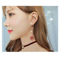 Fashion Women Earrings PomPom Ball Pearl Dangle Drop Stud Earring Jewelry Gift
