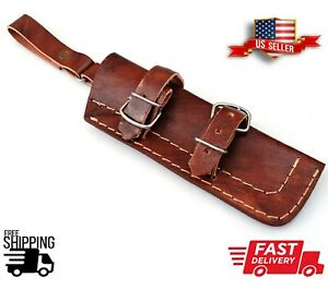 """Genuine 8"""" Leather HANDMADE Crafted BELT SHEATH Holster For FIXED BLADE KNIFE"""