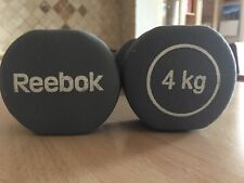 4kg pair of Reebock vinyl coated grey dumbbells; excellent condition