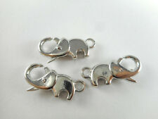 8 Silver Plated Elephant Lobster Claw Clasps Findings 66010