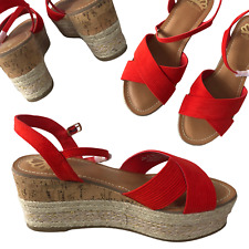 """NEW Fergalicious by Fergie Red & Cork Bottom Gold Shimmer 3"""" Wedge Sandals 6.5M"""
