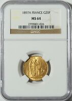 """1897A Gold 20 Franc NGC MS64 -- """"Lucky"""" Angel Coin (#10035)"""