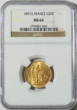 "1897A Gold 20 Franc NGC MS64 -- ""Lucky"" Angel Coin (#10035)"