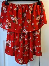Red Floral Off the Shoulder Playsuit, Strapless, Size 12