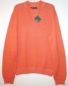 Bobby Jones Mens Orange Pima Cotton Mock V-Neck Golf Sweater NWT $195 Size L