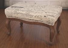 Ex-Display Ottoman French Script USA Oak Soft Linen Upholstered USA Oak Stool