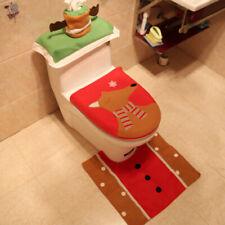 BU_ 3Pcs Christmas Deer Bathroom Toilet Seat Cover Cap Foot Mat Bathroom Home De