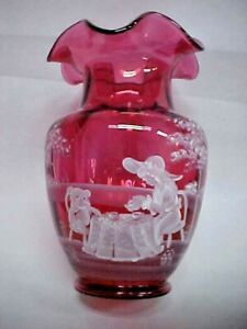 """VTG FENTON CRANBERRY GLASS Vase 10"""" MARY GREGORY Called TEA PARTY W/BOX"""