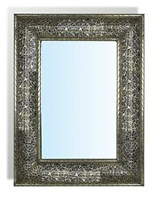 Large Rectangular Silver Moroccan Mirror  hammered insert  painting 50 cm