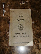 vintage LIST OF PARTS booklet for SINGER sewing machines 95-40 95-41 & 95-42