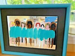 WOODIE LONG FOLK ART DANCING GIRLS ON MIRROR FRAMED BALLERINAS BALLET SIGNED '92