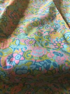 Vintage Retro 60's Floral Cotton Fabric ~Blue Pink Neon Yellow Green Chartreuse