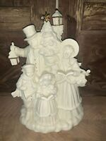 """Vintage Bisque Christmas 10"""" Musical Figurine Holiday Carolers Gold Trim"""
