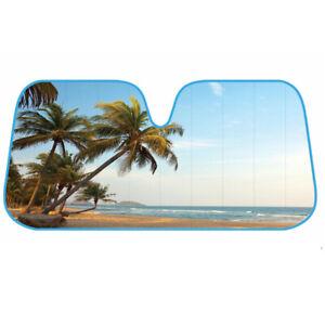 Auto Car Sun Shade Tropical Island Tree Design - Double Bubble Jumbo Sunshade