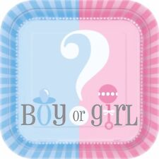 """Gender Reveal - Party Supplies Games Tableware Decorations Baby Shower Boy Girl 7"""" Side Plates X 8"""