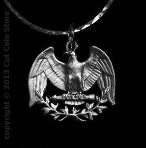 USA Patriotic American Eagle Necklace US Washington Quarter Cut Coin Jewelry ✅
