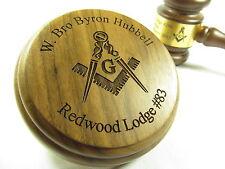 Personalized Engraved Masonic Gavel w/ Engraved Sound Block