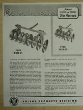 VINTAGE BOLENS DISC HARROW F252 & F255 OWNERS MANUAL