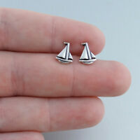 Tiny Sailboat Stud Earrings 925 Sterling Silver Polished Boats Sailing Gift NEW
