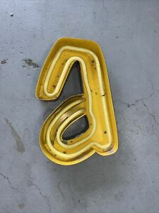 """Vintage Marquee Yellow Letter """"A"""" Channel Outdoor Neon Sign Reclaimed Decor"""