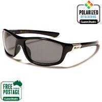 Men's Polarised Sunglasses - Xloop Black Wrap Around Frame - Polarized Lens