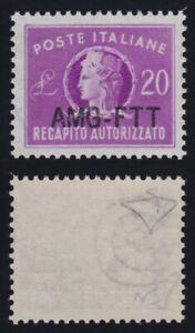 1954 Trieste A Recapito Autorizato n. 5A nuova soprast. MNH** g.i cert. E. Diena
