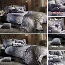 OMBRE CRUSHED VELVET Luxury Duvet Quilt Cover Bedding Set SILVER GREY MINK