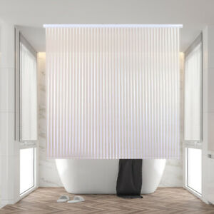 "Jakooz Rollup Shower Curtain (56""x95"") - 100% PEVA Roller Blind - White Stripe!"
