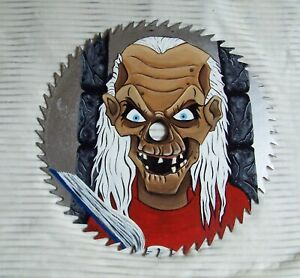 """HALLOWEEN Crypt Keeper HAND PAINTED saw blade 7"""" GIFT OOAK horror cult classic"""