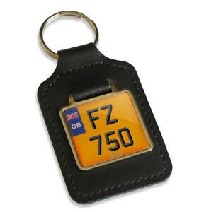 FZ 750 Reg GB Number Plate Leather Keyring Key Fob for Yamaha FZ750