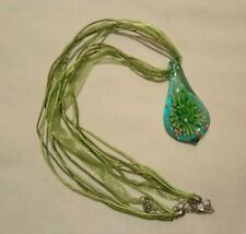 Glass drop pendant flower aventurine gold green white blue on material thong